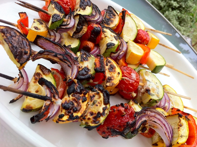 Summer Vegetables Kebabs with Lemon Dill Yogurt Dressing