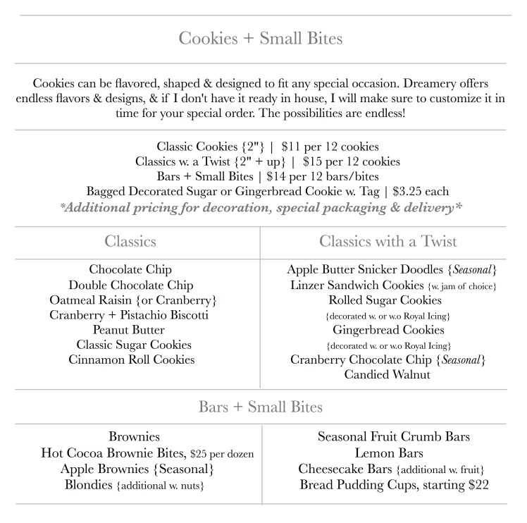 Cookies + Small Bites Menu | Dreamery Events
