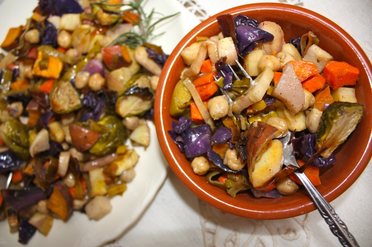 Roasted Winter Vegetables with Garbanzo Beans