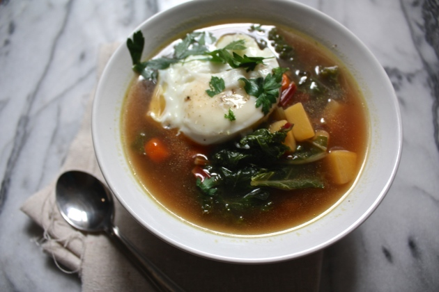 Beet Green And Bulgur Soup With Poached Eggs Recipe — Dishmaps