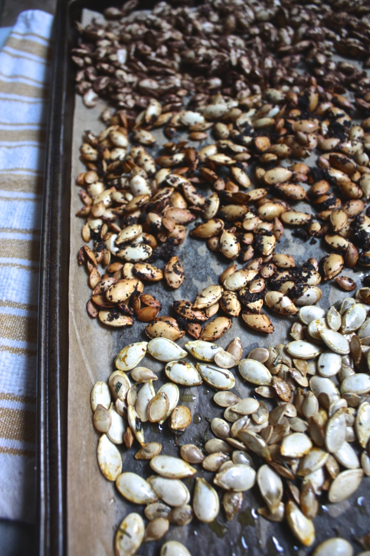 Roasted Squash Seeds: Spiced 3 Ways