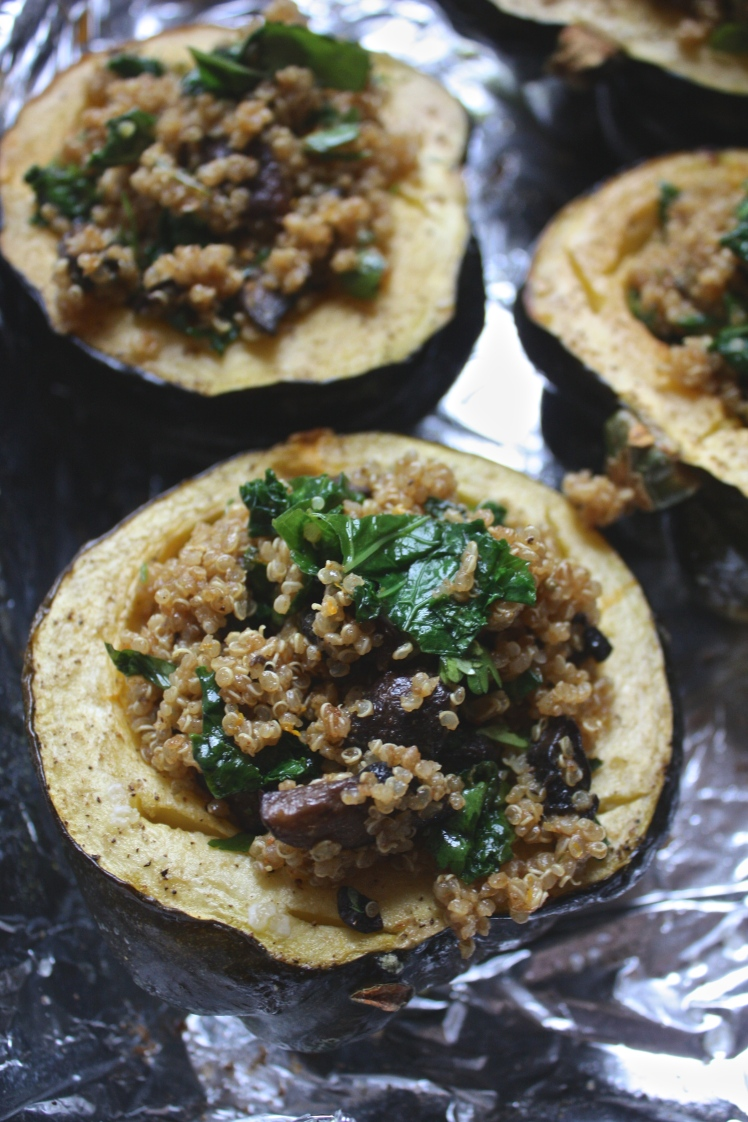 Curry Spiced Quinoa + Kale Stuffed Acorn Squash
