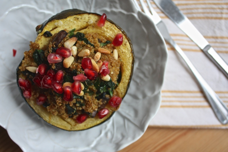 Minimalist Cooking: Curry Spiced Quinoa + Kale Stuffed Acorn Squash