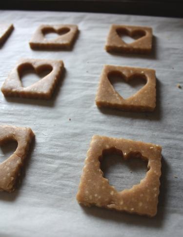 Peanut + Cherry Linzer Valentine Cookies