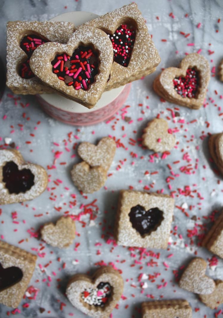 Peanut + Cherry Linzer Cookies