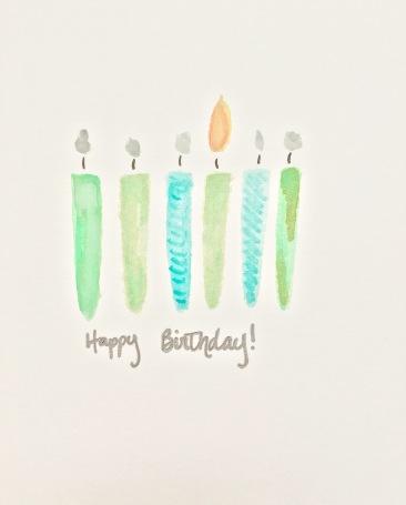DIY Watercolor Birthday Candle Cards